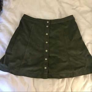 Army Green Faux Suede Mini Skirt
